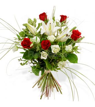 bouquet Roses rouges et lys blanc