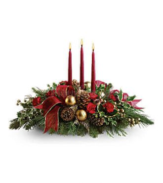 ALL IS BRIGHT CHRISTMAS CANDLE CENTERPIECE