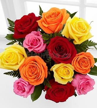 bouquet of mix colored roses