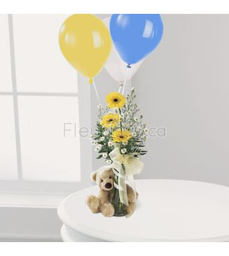 Le bouquet Ourson Bienvenue ™ de FTD®