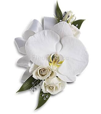 WHITE ORCHID AND ROSE BOUTONNIERE